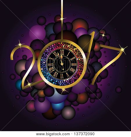 Clock with New Year numerals on a black background with rainbow color bubbles
