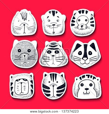 Set of cute doodle cats. Character sketch cat. Cats in style of retro engraving vector. Kids doodle animals. Stylish muzzle cats. Isolated cat. Emotions for design. Cats doodle illustration vector