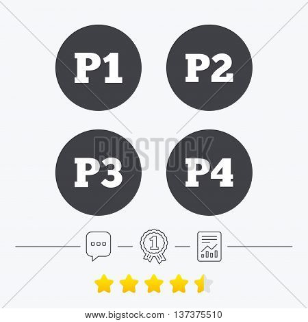 Car parking icons. First, second, third and four floor signs. P1, P2, P3 and P4 symbols. Chat, award medal and report linear icons. Star vote ranking. Vector