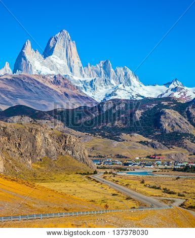 Incredible Patagonia. The road to the snow-white rocks Fitz Roy and tourist center of El Chalten