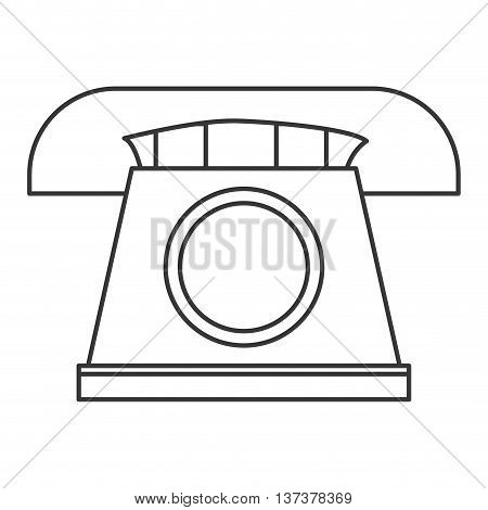 simple line design classic rotary telephone icon vector illustration
