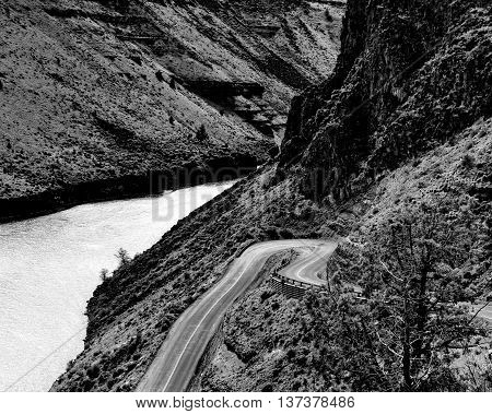 A winding road leads down to lake Billy Chinook in Central Oregon.