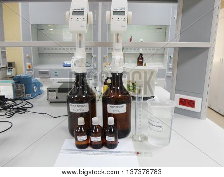 laboratory Titration matterv bottle analysis work business