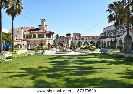 HUNTINGTON BEACH, CA - MARCH 25, 2015: Hyatt Regency Hotel. The grounds at the luxury hotel on PCH in Huntington Beach, California.