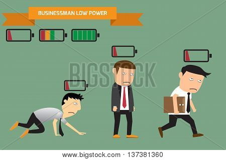 Businessman with low battery low energy vector illustration.