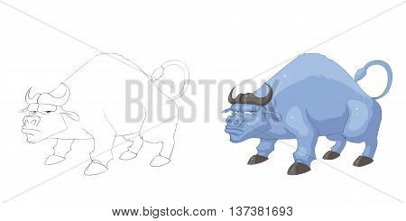 Buffalo. Coloring Book, Outline Sketch, Animal Mascot, Game Character Design isolated on White Background