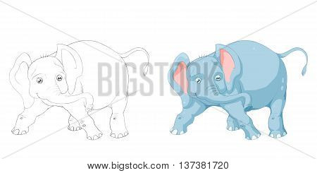 Elephant. Coloring Book, Outline Sketch, Animal Mascot, Game Character Design isolated on White Background