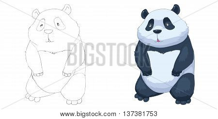 Chinese Panda. Coloring Book, Outline Sketch, Animal Mascot, Game Character Design isolated on White Background