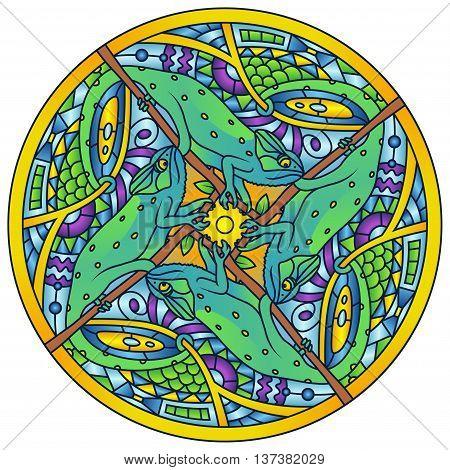 Gree Chameleon Complex Colorful Round Mandala Ornament