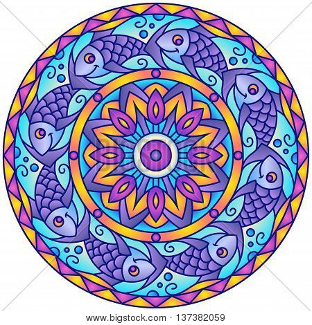 Purple Cute Fish Colorful Round Mandala Ornament