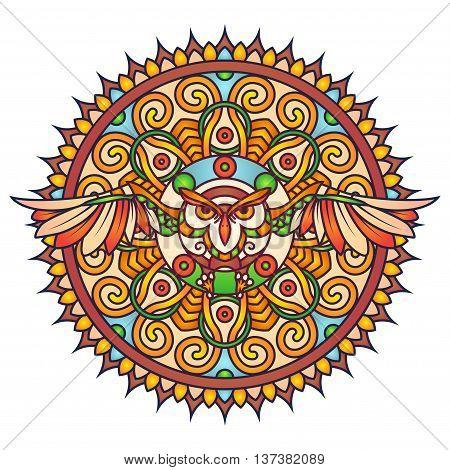 Flying Owl Bird Colorful Round Mandala Ornament