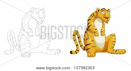 Silly Tiger Sit. Coloring Book, Outline Sketch, Animal Mascot, Game Character Design isolated on White Background