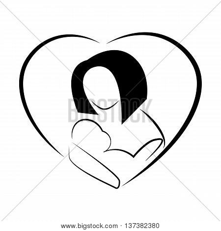 Stylized image of woman breastfeeding baby. Maternity symbol in heart shape. Breastfeeding logo. Image for world week of breastfeeding