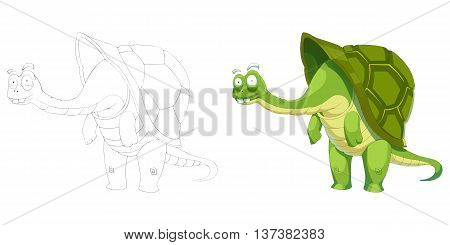 Turtle Grandpa. Coloring Book, Outline Sketch, Animal Mascot, Game Character Design isolated on White Background