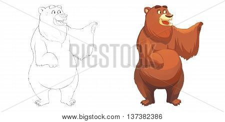 Happy Brown Red Bear. Coloring Book, Outline Sketch, Animal Mascot, Game Character Design isolated on White Background