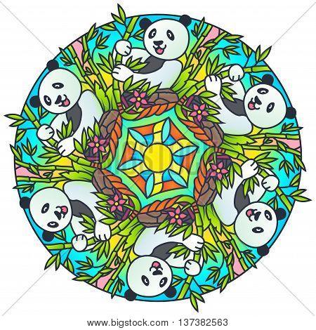 Panda with Bamboo Colorful Round Mandala Ornament