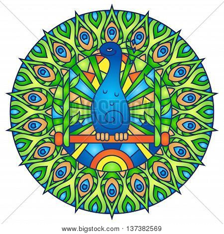Peacock in Blue and Green Colors - Round Mandala Ornament