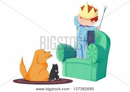 Creative Illustration and Innovative Art: Boy Plays House, act as the Part of King in front of His Dog and Cat. Realistic Fantastic Cartoon Style Artwork Scene Wallpaper, Story Background, Card Design