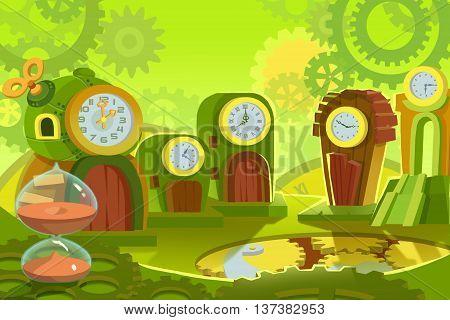 Creative Illustration and Innovative Art: Background Set 6: Time Land. Realistic Fantastic Cartoon Style Artwork Scene, Wallpaper, Story Background, Card Design