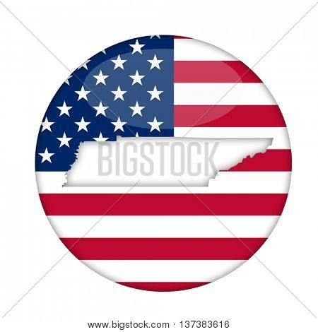 Tennessee state of America badge isolated on a white background.