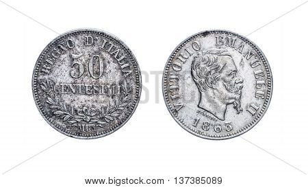 Fifty 50 cents Lire Silver Coin 1863 Vittorio Emanuele II Kingdom of Italy isolated on white, Vittorio Emanuele II profile Mint of Milan