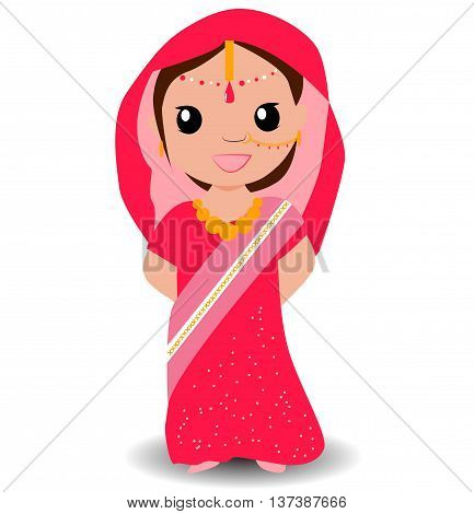 Cute indian girl in saree. Smiling little girl. Vector illustration.