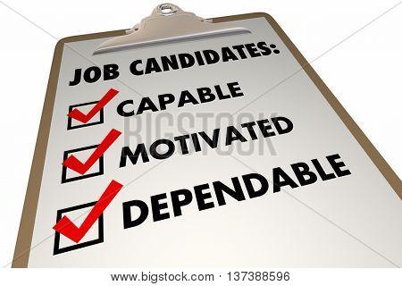 Job Candidates Qualities Requirements Interview Checklist 3d Illustration