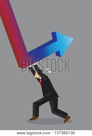 Cartoon man pushing hard to reverse red down arrow into a blue up arrow. Creative vector illustration on working hard to achieve business revival concept isolated on grey background.