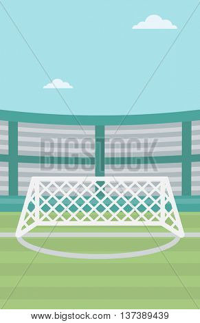 Background of soccer stadium. Soccer stadium with gate. Soccer field. Soccer arena. Soccer stadium vector flat design illustration. Vertical layout.