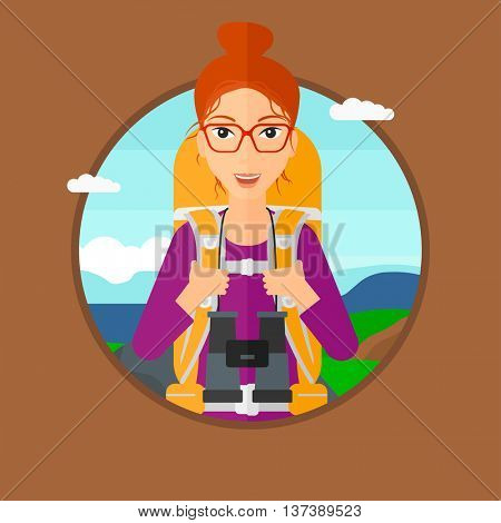 Young woman with backpack walking in the mountains. Female backpacker with binoculars. Female traveler hiking in mountains. Vector flat design illustration in the circle isolated on background.