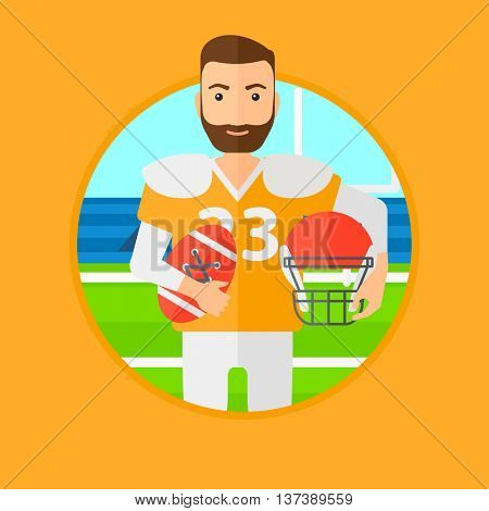 A hipster rugby player with the beard holding ball and helmet in hands. Male rugby player in uniform standing on rugby stadium. Vector flat design illustration in the circle isolated on background.