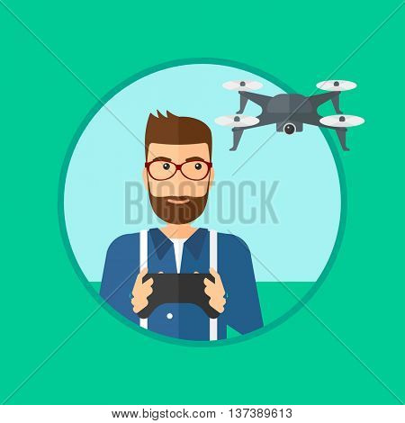 A hipster man with the beard flying drone with remote control. Man operating a drone with remote control. Man controlling a drone. Vector flat design illustration in the circle isolated on background.
