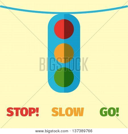 Flat style traffic light icon. Traffic light day card. Stylized image of traffic light.