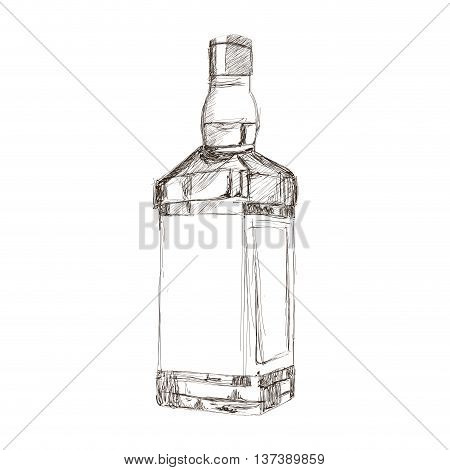 simple flat design liquor bottle sketch icon vector illustration