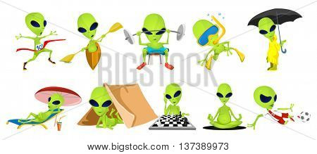 Set of green aliens lifting barbell, doing yoga, relaxing in tent, on chaise lounge. Aliens swimming, running, riding canoe, playing football, chess. Vector illustration isolated on white background.