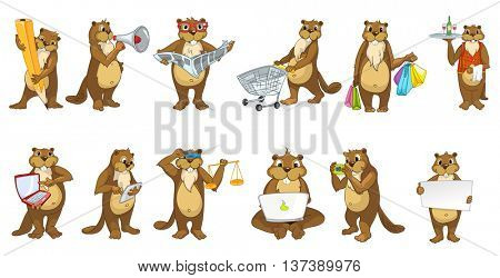 Set of cute beavers using laptop, tablet computer, megaphone, camera. Beavers doing shopping, reading newspaper, drawing with pencil, holding libra. Vector illustration isolated on white background.