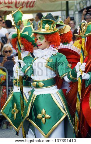 Montenegro, Herceg Novi - 04/06/2016: Performance bright cheerful clowns from Macedonia. 10 International Children's Carnival