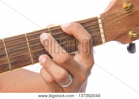 focus front finger catch Guitar strings. (Practicing Chord G)
