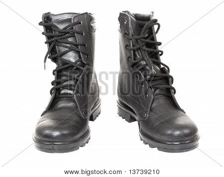 Black leather high top boots