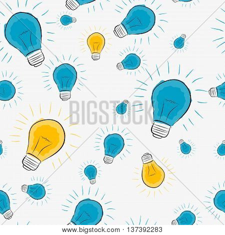 Vector seamless pattern on white background with handdrawing lamp in flat style
