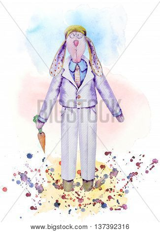 Watercolor rag hare handpainted doll in suit with carrot