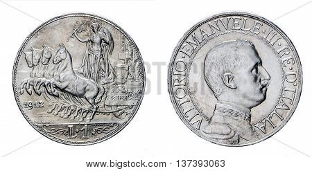 One Lira Silver Coin 1912 Quadriga Veloce Vittorio Emanuele III Kingdom of Italy isolated on white, Mint of rome