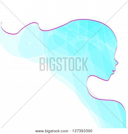 Elegant silhouette greeting card design with illustration of young girl. Fashion profile beauty salon. abstract girl hair. air design concept for beauty salon, spa