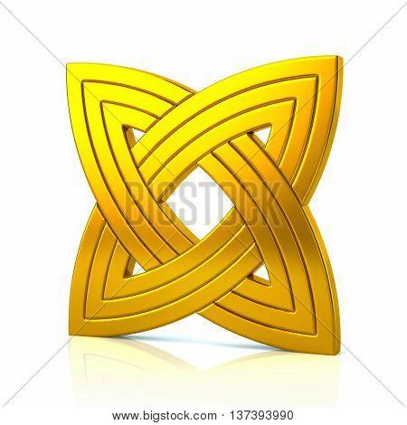 3D Illustration Of Golden Basic Knot Design