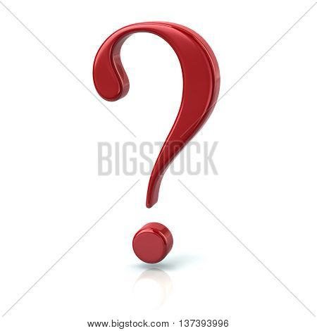3D Illustration Of Red Question Sign