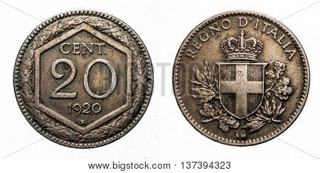 Twenty 20 cents Lire Silver Coin 1920 Exagon on front and Crown Savoy Shield on back, Vittorio Emanuele III Kingdom of Italy isolated on white, Mint of rome
