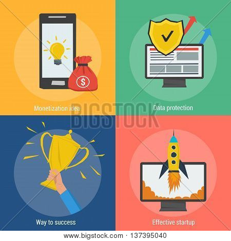 Vector four square success concept. Monetization idea, effective startup, data protection and way to success in flat style. Banners for advertising and background