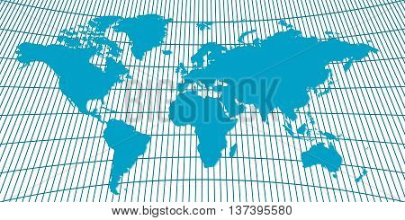 Vector background world map with meridians and parallels