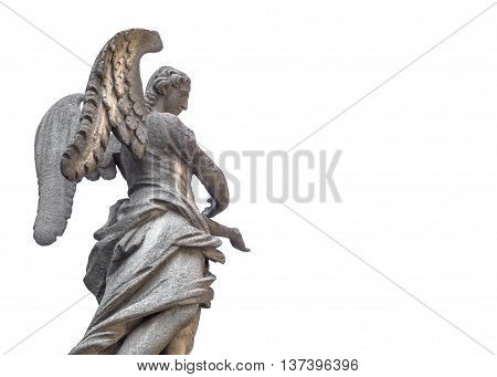 Statue of an old angel isolated on white background.