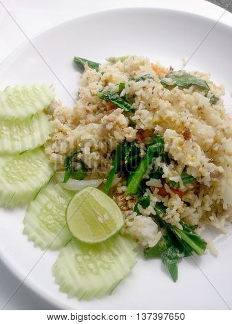 Thai Fried Rice With Pork On White Dish Have Lemon And Chilli Fish Sauce For Flavour